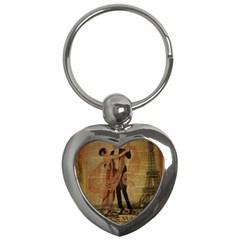 Vintage Paris Eiffel Tower Elegant Dancing Waltz Dance Couple  Key Chain (Heart)