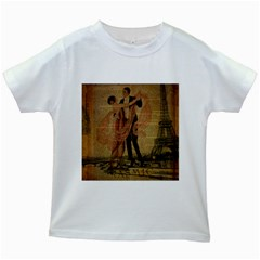Vintage Paris Eiffel Tower Elegant Dancing Waltz Dance Couple  Kids' T-shirt (White)