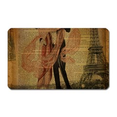 Vintage Paris Eiffel Tower Elegant Dancing Waltz Dance Couple  Magnet (rectangular)