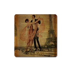 Vintage Paris Eiffel Tower Elegant Dancing Waltz Dance Couple  Magnet (Square)