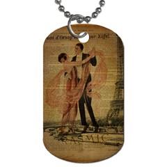 Vintage Paris Eiffel Tower Elegant Dancing Waltz Dance Couple  Dog Tag (one Sided)
