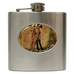 Vintage Paris Eiffel Tower Elegant Dancing Waltz Dance Couple  Hip Flask