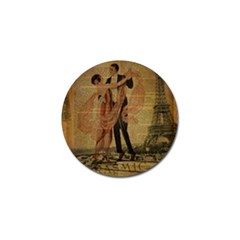 Vintage Paris Eiffel Tower Elegant Dancing Waltz Dance Couple  Golf Ball Marker