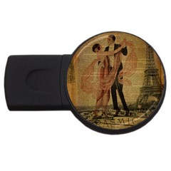 Vintage Paris Eiffel Tower Elegant Dancing Waltz Dance Couple  2GB USB Flash Drive (Round)