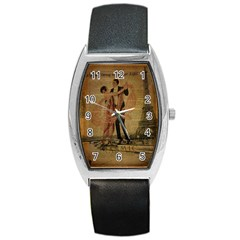Vintage Paris Eiffel Tower Elegant Dancing Waltz Dance Couple  Tonneau Leather Watch