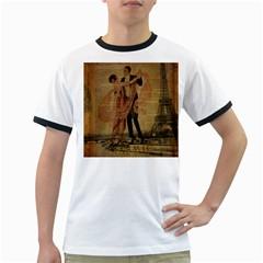 Vintage Paris Eiffel Tower Elegant Dancing Waltz Dance Couple  Mens' Ringer T Shirt