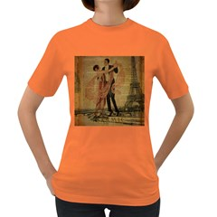 Vintage Paris Eiffel Tower Elegant Dancing Waltz Dance Couple  Womens' T-shirt (Colored)