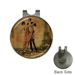 Vintage Paris Eiffel Tower Elegant Dancing Waltz Dance Couple  Hat Clip with Golf Ball Marker