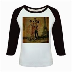 Vintage Paris Eiffel Tower Elegant Dancing Waltz Dance Couple  Women s Long Cap Sleeve T-Shirt