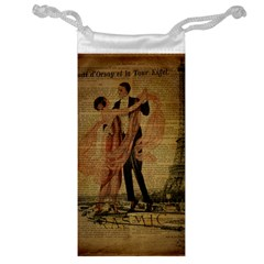 Vintage Paris Eiffel Tower Elegant Dancing Waltz Dance Couple  Jewelry Bag
