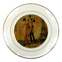 Vintage Paris Eiffel Tower Elegant Dancing Waltz Dance Couple  Porcelain Display Plate