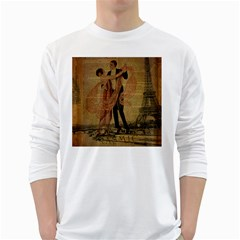 Vintage Paris Eiffel Tower Elegant Dancing Waltz Dance Couple  Mens' Long Sleeve T Shirt (white)