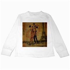 Vintage Paris Eiffel Tower Elegant Dancing Waltz Dance Couple  Kids Long Sleeve T Shirt