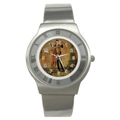 Vintage Paris Eiffel Tower Elegant Dancing Waltz Dance Couple  Stainless Steel Watch (Unisex)
