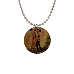 Vintage Paris Eiffel Tower Elegant Dancing Waltz Dance Couple  Button Necklace