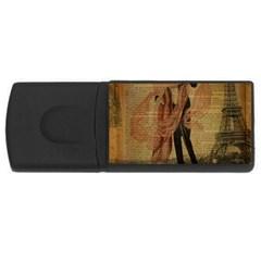Vintage Paris Eiffel Tower Elegant Dancing Waltz Dance Couple  4GB USB Flash Drive (Rectangle)