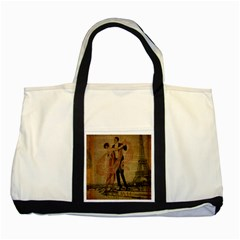 Vintage Paris Eiffel Tower Elegant Dancing Waltz Dance Couple  Two Toned Tote Bag