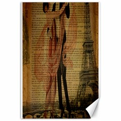 Vintage Paris Eiffel Tower Elegant Dancing Waltz Dance Couple  Canvas 12  X 18  (unframed)