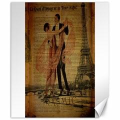 Vintage Paris Eiffel Tower Elegant Dancing Waltz Dance Couple  Canvas 20  X 24  (unframed)