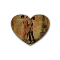 Vintage Paris Eiffel Tower Elegant Dancing Waltz Dance Couple  Drink Coasters 4 Pack (Heart)