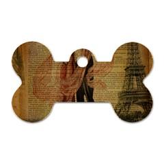 Vintage Paris Eiffel Tower Elegant Dancing Waltz Dance Couple  Dog Tag Bone (one Sided)