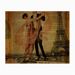 Vintage Paris Eiffel Tower Elegant Dancing Waltz Dance Couple  Glasses Cloth (Small, Two Sided)