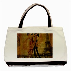 Vintage Paris Eiffel Tower Elegant Dancing Waltz Dance Couple  Twin-sided Black Tote Bag