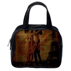 Vintage Paris Eiffel Tower Elegant Dancing Waltz Dance Couple  Classic Handbag (One Side)
