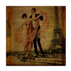 Vintage Paris Eiffel Tower Elegant Dancing Waltz Dance Couple  Face Towel