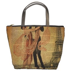 Vintage Paris Eiffel Tower Elegant Dancing Waltz Dance Couple  Bucket Bag