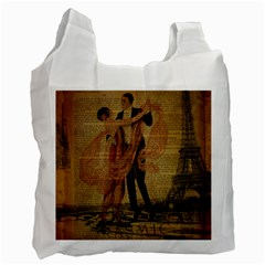 Vintage Paris Eiffel Tower Elegant Dancing Waltz Dance Couple  Recycle Bag (Two Sides)