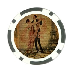 Vintage Paris Eiffel Tower Elegant Dancing Waltz Dance Couple  Poker Chip 10 Pack