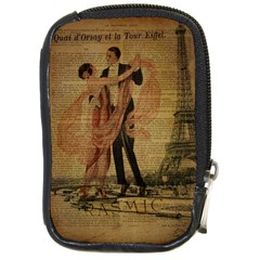 Vintage Paris Eiffel Tower Elegant Dancing Waltz Dance Couple  Compact Camera Leather Case