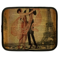Vintage Paris Eiffel Tower Elegant Dancing Waltz Dance Couple  Netbook Case (XXL)