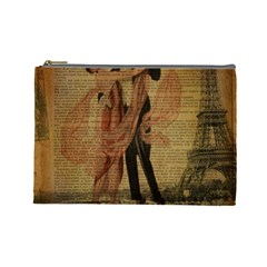 Vintage Paris Eiffel Tower Elegant Dancing Waltz Dance Couple  Cosmetic Bag (Large)