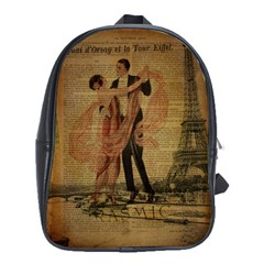 Vintage Paris Eiffel Tower Elegant Dancing Waltz Dance Couple  School Bag (Large)