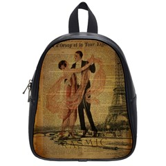 Vintage Paris Eiffel Tower Elegant Dancing Waltz Dance Couple  School Bag (Small)