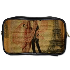 Vintage Paris Eiffel Tower Elegant Dancing Waltz Dance Couple  Travel Toiletry Bag (One Side)