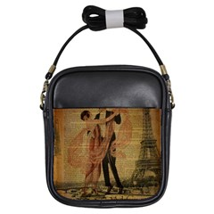 Vintage Paris Eiffel Tower Elegant Dancing Waltz Dance Couple  Girl s Sling Bag