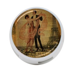 Vintage Paris Eiffel Tower Elegant Dancing Waltz Dance Couple  4-Port USB Hub (One Side)