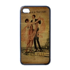 Vintage Paris Eiffel Tower Elegant Dancing Waltz Dance Couple  Apple iPhone 4 Case (Black)