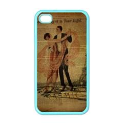 Vintage Paris Eiffel Tower Elegant Dancing Waltz Dance Couple  Apple Iphone 4 Case (color)