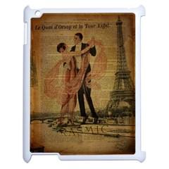 Vintage Paris Eiffel Tower Elegant Dancing Waltz Dance Couple  Apple iPad 2 Case (White)