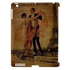 Vintage Paris Eiffel Tower Elegant Dancing Waltz Dance Couple  Apple Ipad 3/4 Hardshell Case (compatible With Smart Cover)