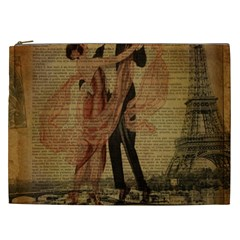 Vintage Paris Eiffel Tower Elegant Dancing Waltz Dance Couple  Cosmetic Bag (xxl)