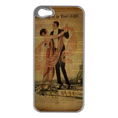 Vintage Paris Eiffel Tower Elegant Dancing Waltz Dance Couple  Apple Iphone 5 Case (silver)