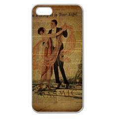 Vintage Paris Eiffel Tower Elegant Dancing Waltz Dance Couple  Apple Seamless iPhone 5 Case (Clear)
