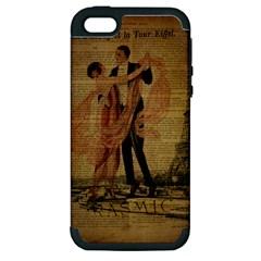 Vintage Paris Eiffel Tower Elegant Dancing Waltz Dance Couple  Apple Iphone 5 Hardshell Case (pc+silicone)
