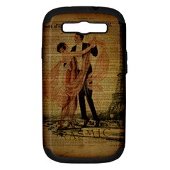Vintage Paris Eiffel Tower Elegant Dancing Waltz Dance Couple  Samsung Galaxy S Iii Hardshell Case (pc+silicone)