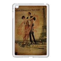 Vintage Paris Eiffel Tower Elegant Dancing Waltz Dance Couple  Apple iPad Mini Case (White)